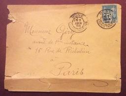 S132 Bone Constantine Algérie Sage 15c Vers Paris France 7/2/188 Cachet Verso Sens-Olive Lettre - Poststempel (Briefe)