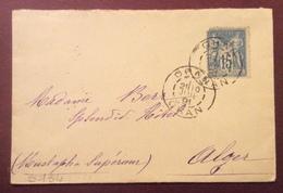 S134 Oran Oran Algérie Sage 15c Vers Mustapha Alger 10/7/1891 Lettre - Poststempel (Briefe)