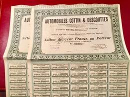 AUTOMOBILES  COTTIN  &  DESGOUTTES -------Lot  De  2  Actions  De  100 Frs - Automobile