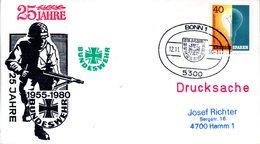 """(BWH1) BRD Cachetumschlag BW HEER """"1955-1980 25 JAHRE BUNDESWEHR"""" SSt 12.11.80 BONN 1 - [7] Repubblica Federale"""
