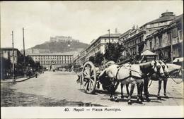 Cp Napoli Neapel Campania, Piazza Municipio, Baroccio, Cavalli - Italia