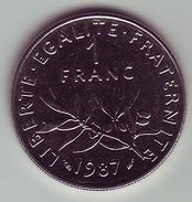 1 Franc Semeuse Nickel - 1987 - SUP/SPL - H. 1 Franc