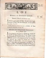 18 Février 1791 - Loi Relative A LA GENDARMERIE - Documents Historiques