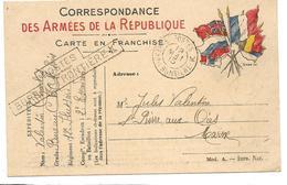 Guerre 14 18 Carte Aux Drapeaux CAD Postes Bureau Frontière K' 19.5.1915 + Griffe Noire  2 Scans - Marcophilie (Lettres)