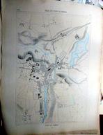 56 VANNES PLAN DU PORT ET DE LA VILLE  EN 1879 DE L'ATLAS DES PORTS DE FRANCE 49 X 67 Cm - Cartes Marines