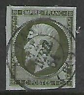 France, 1860, Napoloeon III, 1c Olive Green / Blueish, Imperf, Used ARRAS (61) 12 AVRIL 64, C.d.s. - 1853-1860 Napoleon III