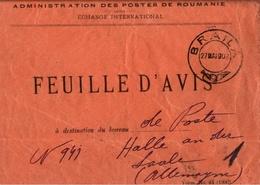 ! 1908, Braila, Postsache. Feuille D Avis, Postes Roumanie, Echange International, Halle Saale, Rumänien, Romania - 1881-1918: Charles I