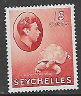 Seychelles, 1942, 15 Cents,  Br-carmine, Ordinary Paper, MH * - Seychelles (...-1976)