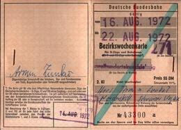 ! 1972 Deutsche Bundesbahn Bezirkswochenkarte, Hamburg, Schleswig-Holstein - Abonnements Hebdomadaires & Mensuels