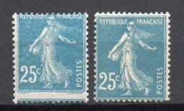 - FRANCE Variété N° 140r ** - 25 C. Bleu Type Semeuse Camée 1907 - PIQUAGE A CHEVAL - - Errors & Oddities