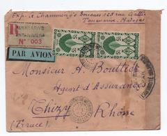 1945 - ENVELOPPE RECOMMANDE De TANANARIVE ANTANIMENA (MADAGASCAR) Pour THIZY Avec CENSURE - Madagascar (1889-1960)