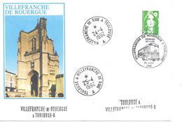 Lettre Ambulant Routier Toulouse à Villefranche De Rouergue A - Marcophilie (Lettres)