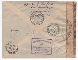 """1943 - CACHET """"MADAGASCAR REUNION REOUVERTURE LIAISON AERIENNE 20 DEC"""" ENVELOPPE RECOMMANDE TANANARIVE Pour SAINT DENIS - WW II"""