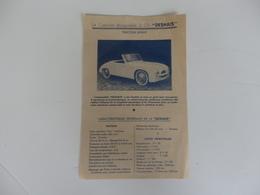 """Papier Sur Le Cabriolet Décapotable 2 CV """"Deshais"""". Automobile Deshais 17 Et 21 Passage Etienne Delaunay à Paris XI. - Cars"""