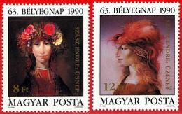 Hungria. Hungary. 1990. Mi 4107 / 08. Stamp Day. Paintings. Endre Szasz - Hungría