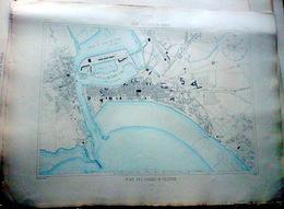 85 LES SABLES D'OLONNE PLAN DU PORT ET DE LA VILLE  EN 1883   DE L'ATLAS DES PORTS DE FRANCE 49 X 67 Cm - Cartas Náuticas