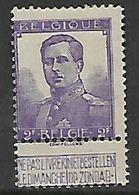 Belgium, 1912, 2 Francs, Violet, With Tab, MH * - 1912 Pellens