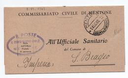 1943 - OCCUPATION ITALIENNE En FRANCE - RARE LETTRE Du COMMISSARIATO CIVILE DI MENTONE (MENTON) - Occupation 2ème Guerre Mond. (Italie)