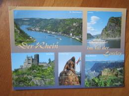 Der Rhein Im Tal Der Loreley. Burg Katz. Loreley Figur. Burg Rheinfels. St. Goarshausen - Loreley