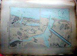 40 CAPBRETON PLAN DU PORT ET DE LA VILLE  EN 1886  DE L'ATLAS DES PORTS DE FRANCE 49 X 67 Cm - Cartes Marines
