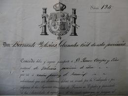 PASSEPORT ESPAGNOL DELIVRE A RAMON CAMPOS SIGNE BERNARDO IGLESIAS GOBERNADOR 1872 - Documentos Históricos