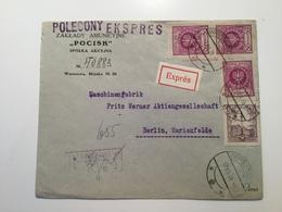 K6 Polen 1926 Express- Brief Von Warschau Mit Vignette Nach Berlin - 1919-1939 Republik