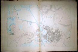 17 LA ROCHELLE DOUBLE  PLAN DU PORT ET DE LA VILLE  EN 1886  DE L'ATLAS DES PORTS DE FRANCE 98 X 66 Cm - Cartas Náuticas