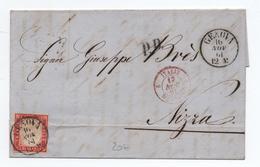 SARDAIGNE / SARDEGNA - 1861 - LETTRE De GENOVA Pour NICE / NIZZA Avec CACHET D'ENTREE ITALIE MENTON 2 - Sardaigne