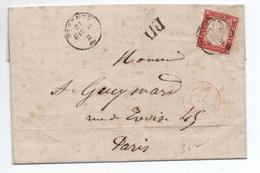 SARDAIGNE / SARDEGNA - 1863 - LETTRE De FIRENZE Pour NICE / NIZZA Avec CACHET D'ENTREE ITALIE LANSLEBOURG 5 - Sardaigne