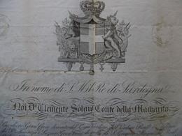 ROYAUME DE SARDAIGNE PASSEPORT A GIOVANNI ANTONIO SE RENDANT DE CUNEO A AVIGNON ARMOIRIES CACHETS AUTOGRAPHES 1849 - Documenti Storici
