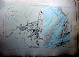 85 SAINT GILLES CROIX DE VIE LUCON PLAN DU PORT ET DE LA VILLE  EN 1882  DE L'ATLAS DES PORTS DE FRANCE 49 X 66 Cm - Cartas Náuticas
