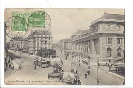 21534 - Genève  La Rue Du Mont Blanc Et Le Poste Tram - GE Genève