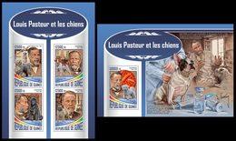 GUINEA 2017 - Louis Pasteur, Dogs - Mi 12700-3 + B2836; CV=40 € - Louis Pasteur