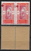 """1915 - DAHOMEY - Colonie Française - NEUF - VARIETE - PAIRE- 60**.Surcharge..""""CROIX ROUGE"""".. Renversée - SUPERBE/MNH.RR. - Nuovi"""