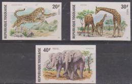 TOGO - 1974 IMPERF Wild Animals - Elephant, Etc. Scott 887-889. MNH ** - Togo (1960-...)