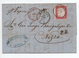 """SARDAIGNE / SARDEGNA - 1863 - LETTRE De GENOVA Pour NICE / NIZZA Avec CACHET BATEAU """"GENES BAT A VAPEUR"""" - Sardaigne"""