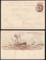 """BELGIQUE EP 10C BRUN VOYAGE PAQUEBOT DE L'ETAT BELGE LIGNE OSTENDE DOUVRES """" LA FLANDRE """"(DD) DC-2207 - Stamped Stationery"""