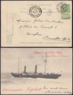 """BELGIQUE EP 5C VERT VOYAGE PAQUEBOT DE L'ETAT BELGE LIGNE OSTENDE DOUVRES """"A BORD LEOPOLD II """"(DD) DC-2212 - Stamped Stationery"""