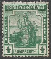 Trinidad & Tobago. 1913-23 Britannia. ½d Used Mult Crown CA W/M SG 149 - Trinidad & Tobago (...-1961)