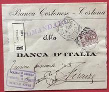 BANCA CORTONESE CORTONA RACCOMANDATA CON FLOREALE 40 C.ISOLATO PER FIRENZE IN DATA 2/9/1907 - 1900-44 Vittorio Emanuele III