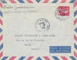 """MULLER N° 1011 15f Obl """" POINTE A PITRE GUADELOUPE 9/11/51 """" Sur Lettre Avion Pour Paris - France"""