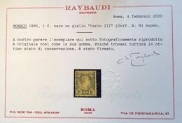 Monaco 1885 1 Fr Neuf Gomme D' Origine * 1 Er CHOIX, Yv 9 2750€, CERTIFICAT RAYBAUDI (Charles III Rare First Issue Cert - Monaco
