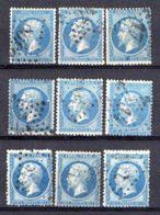 FRANCE (  LOT ) : Y&T N° 22 , TIMBRES  OBLITERES  EN  LOT , POUR  ETUDE . - 1862 Napoleon III