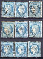 FRANCE (  LOT ) : Y&T N°  37 , TIMBRES  OBLITERES  EN  LOT , POUR  ETUDE . - 1870 Siege Of Paris