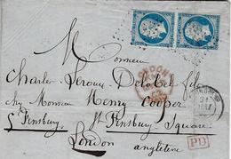 1862- Lettre De Tourcoing ( Nord ) Cad T15 Affr. Paire N°14 ( 4 Marges )-oblit. Pc  Pour Londres - 1849-1876: Periodo Classico