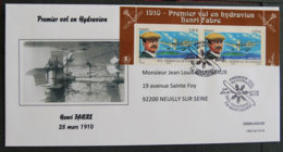 FRANCE - 2010 - PJ PA 73 - PREMIER VOL EN HYDRAVION - HENRI FABRE - 2 TIMBRES + EN TETE BLOC - FDC