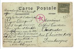 Guerre 14 18 BAMBECQUE Nord Censure Militaire Allemande Pour Dunkerque Cpa Gare ...  2 Scans - Marcophilie (Lettres)