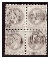 Bloc De 4 Du N° 27A  Obl. - 1863-1870 Napoléon III. Laure