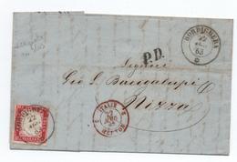 "SARDAIGNE / SARDEGNA - 1863 - LETTRE De BORDIGHERA Pour NICE / NIZZA Avec CACHET D'ENTREE ""ITALIE MENTON 2"" - ETIQUETTE - Sardaigne"