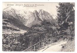 AK Garmisch, Blick Auf Die Zugspitze Von Der Almrestauration Maximilianshöhe, Gel.1909 - Garmisch-Partenkirchen
